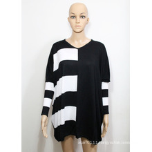 Lady Fashion Viscose Knitted V-Neck Sweater (YKY2001)
