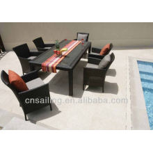 Popular Patio Waterproof dining table with wicker chairs