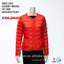 2017 Elegant Ladies Super Light Short Warm Red Down jaqueta com tubulação e rendas