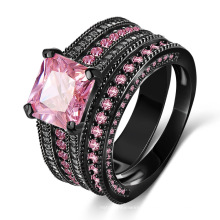 Розовый CZ Алмаз 18kt черное золото заполненные кольцо