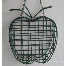 Alimentador de pájaros de alambre de metal en forma de Apple