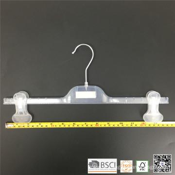 Cabide de calças semi grampos ajustáveis de plástico branco 36cm