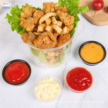Custom ECO Disposable White Mini Small Round PET PP Plastic Storage Dipping Sauce Cups For Restaurant Takeaway Take Out With Lid