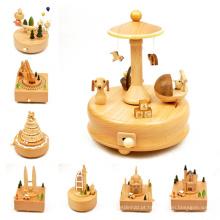 FQ marca atacado personalizado artesanato brinquedo jóias caixa de presente de madeira musical