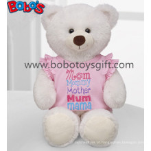 Brinquedo de urso de pelúcia de pelúcia branco com vestido rosa como presente do dia das mães