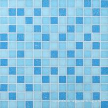 Стройматериалы Мозаичная плитка Голубая стеклянная мозаика для бассейна
