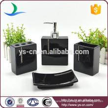 Accesorios de baño de lujo de cerámica negra con diamante