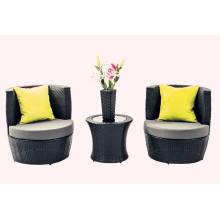 4 PCS Открытый Черный ротанга Stackable мебель для внутреннего дворика
