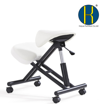 HY5001-2 Haiyue Furniture Ergonomic Kneeling Chair with Saddle Seat, Black PU Leather