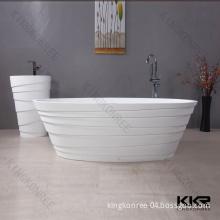 Pure White Matte Acrylic Solid Surface Stone Freestanding Bathtub