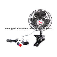 Car fan with half safety plastic guard, operated by 12 or 24V DC