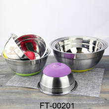 Stainless Steel Salad Basin with Silica Gel Lid (FT-00201)
