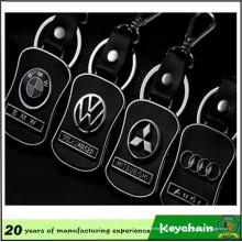 Chaveiro de logotipo de carro de couro de metal para venda