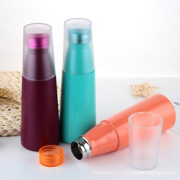 Flacon thermos à vide, bouteille d'eau en métal avec couvercle en plastique