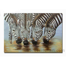 Handmade Zebra Oil Painting Drinking Water