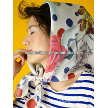 90x90cm digital print custom design silk scarf paris