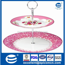 "2pcs cake stand with 10.5"" ceramic plate and 7.5"" dessert plate wedding cake stand"