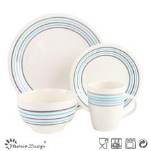 16PCS Dinner Set Iwth Simple Strips Design Cream Color