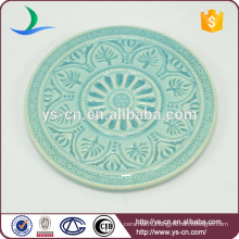 vintage pattern mini round plate with green color