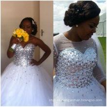2017 Rhinestone de la fábrica de Guangzhou rebordeó el vestido de los vestidos de boda Ghana