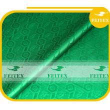 En gros Nigeria Shadda 100% Coton Guinée Brocade Dames Bazin Tissu Vert Boubou