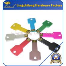 Controlador de destello colorido de la llave de la forma del metal USB