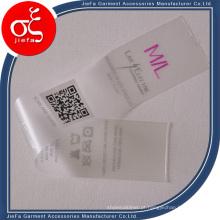 Etiqueta de roupas impressa em TPU personalizada com preço de fábrica / etiqueta de lavagem