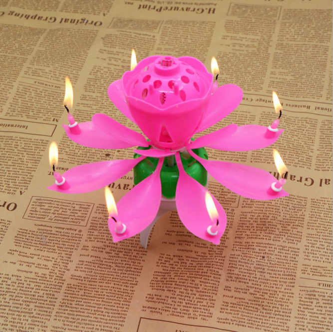 Rotated Flower Birthday Candle