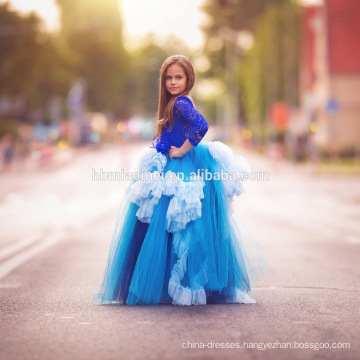 2017 floor length long sleeved laced blue color birthday dress for baby girl