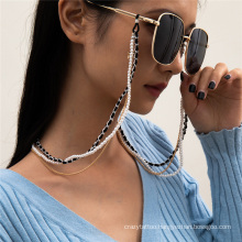 European and American Gold Fashion Jewellery Flannel Pearl Chain Six-Pointed Star Hanging Neck Rope Mask Chain Sunglasses Chain Glasses Chain for Women 2021