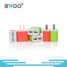 Carregador de viagem duplo USB colorido conosco plug