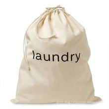 Wholesale custom printed logo cotton laundry bag canvas drawstring laundry bags