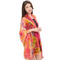 Léger décoratif printemps été châle marque imprimé coloré qualité polyester femmes foulard châle hijab
