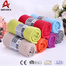 Promotional bottom price custom size solid colour softextile polar fleece blanket