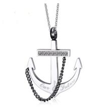 Moda âncora diamante aço inoxidável colar pingente