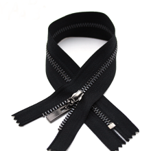 Black Gunmetal Teeth on Black Tape Metal Zipper