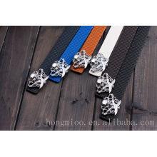 fashion man belt with skull belt buckle