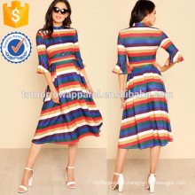 Button Up Front Flounce Sleeve Striped Dress Manufacture Wholesale Fashion Women Apparel (TA3223D)