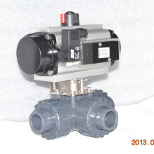 plastique véritable union PVC pneumatique à trois voies robinet à boisseau sphérique