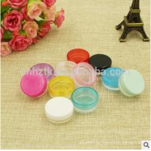 Tarro plástico de la muestra 5g para el polvo cosmético / la pequeña botella