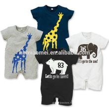 2016 été conception éléphant bébé barboteuse nouvelle conception à manches courtes coton catoon adultes barboteuse