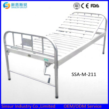 China barato aço inoxidável uma função manual camas de hospital