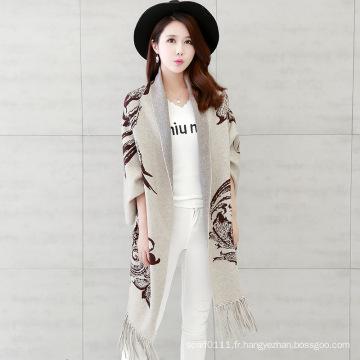 Femmes Mode Viscose Nylon tricoté Fringe Cardigan d'hiver (YKY2068)