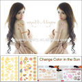 Latest Body Skin Safe Tattoo Sticker Changing Colour in The Sun Disposable Tattoo BS-8033