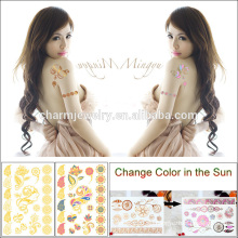 Neueste Körper Haut Safe Tattoo Aufkleber Ändern Farbe in der Sonne Wegwerf Tattoo BS-8033