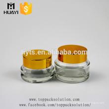 pot de cosmétique en verre transparent de taille différente de vente chaude pour la crème de visage