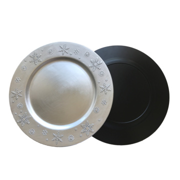 Silver Snowflake Plastic Plate with Metallic Finish