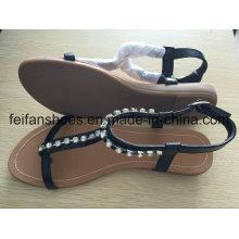 Sandales occasionnelles de femmes plates avec le bijou, chaussures à glissière de Madame adaptées aux besoins du client