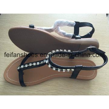 Sandálias casuais de mulheres plana com jóias, senhora personalizada Slip-on sapatos
