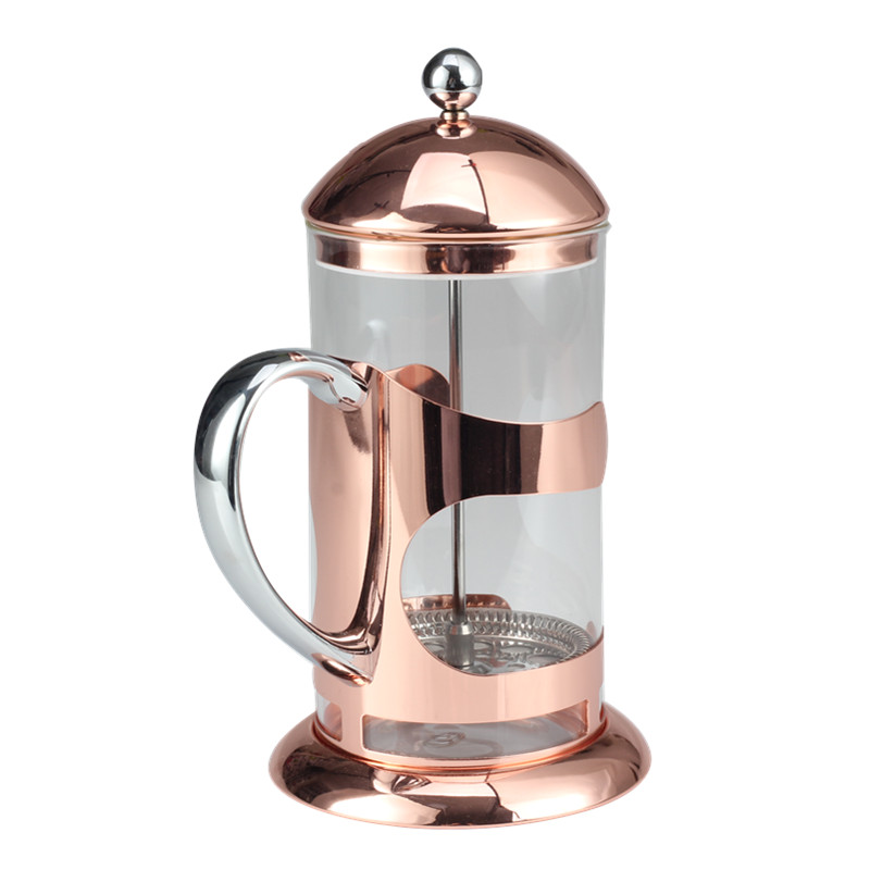 Food Grade Stainless Steel Strainer Of Copper Frame Glass French Press